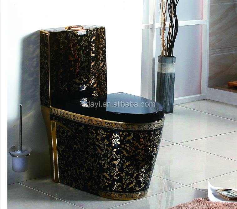 Ceramic Gold Color Toilet Bowl Bathroom Golden Wc Toilet Black And Gold Toilet View Black And Gold Toilet Sdayi Product Details From Chaozhou City