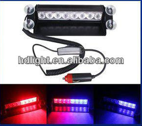 factory direct sale 8 LED High Power flashing Warning Car Light red/ blue