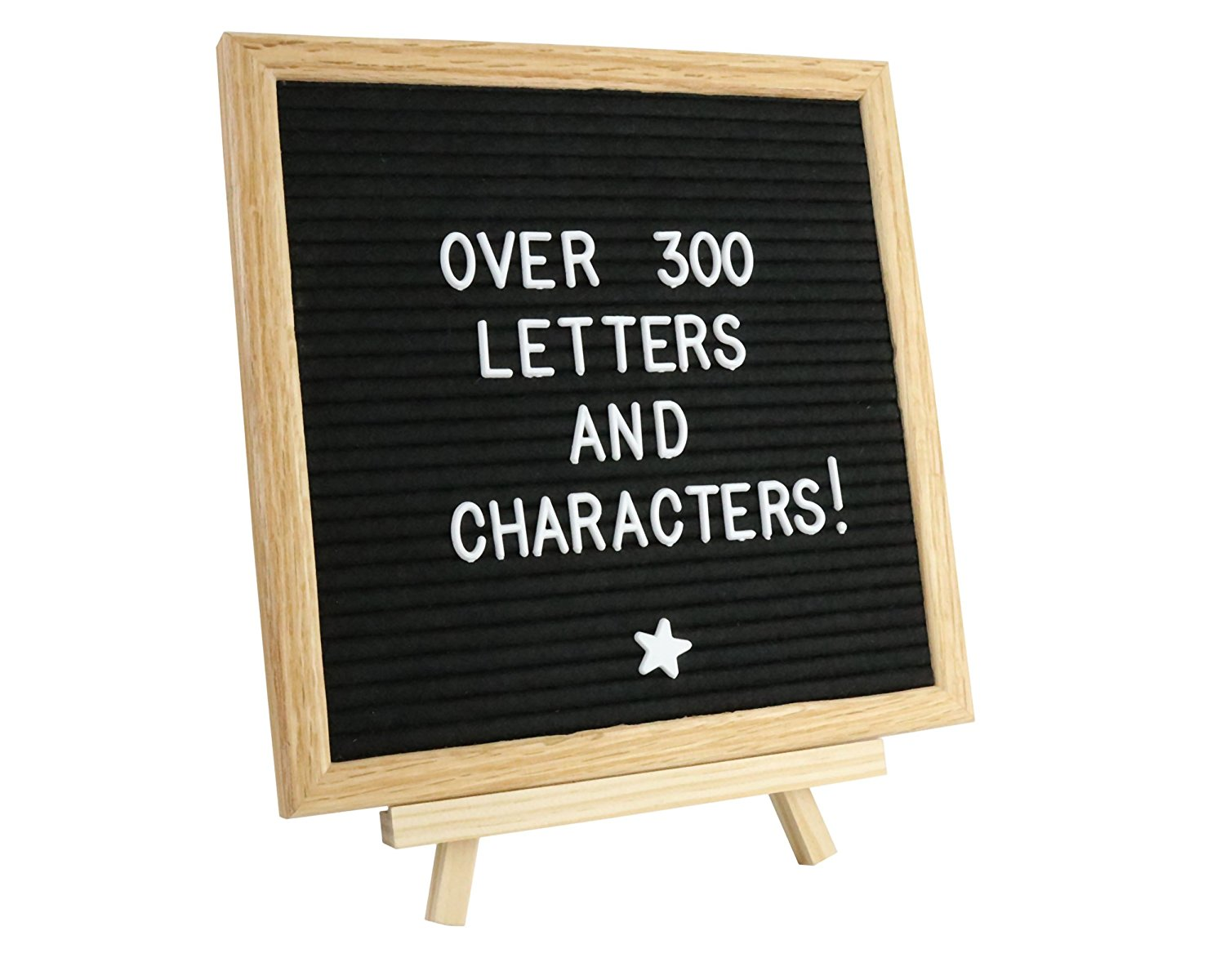 Black Felt Letter Board 10 x 10 Inches with BONUS Bag, Letters, Stand. Natural American Red Oak Wood, Durable Polyester Black Felt, 290 Piece Letters + 45 Piece Emojis. For Photos, School, Business