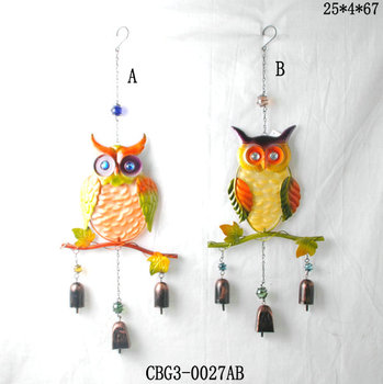Wind Noisemakers Outdoor Owl Chimes Metal Iron Crafts Decorative Garden Ornaments Set Of 2