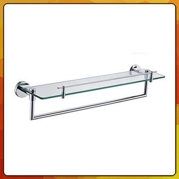 Wall Mount Shower Room Glass Shelf With Towel Bar 2753