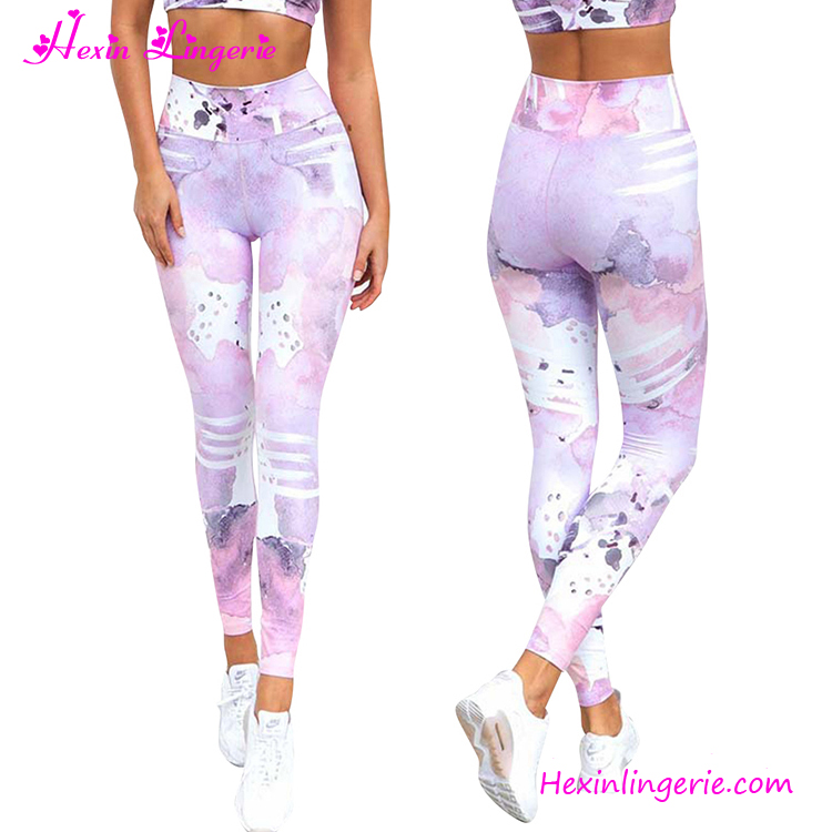 Customized Wholesale pink high waist long fitness push up yoga leggings sport