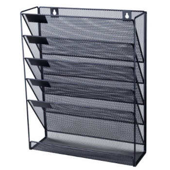 Whole Factory Price Black Office Hanging 5 Layer Metal Wire Mesh Wall File Organizer