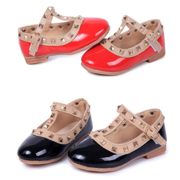 2015 New Princess Girls Kids Children Sandals Leather,T-strap Flat Heel Shoes,16 Sizes,Toddler Girl Dance Shoes,Free Shipping
