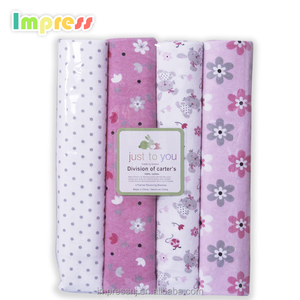Newborn baby swaddle bankets soft breathable cotton 4pc flannel baby receiving blankets wholesale