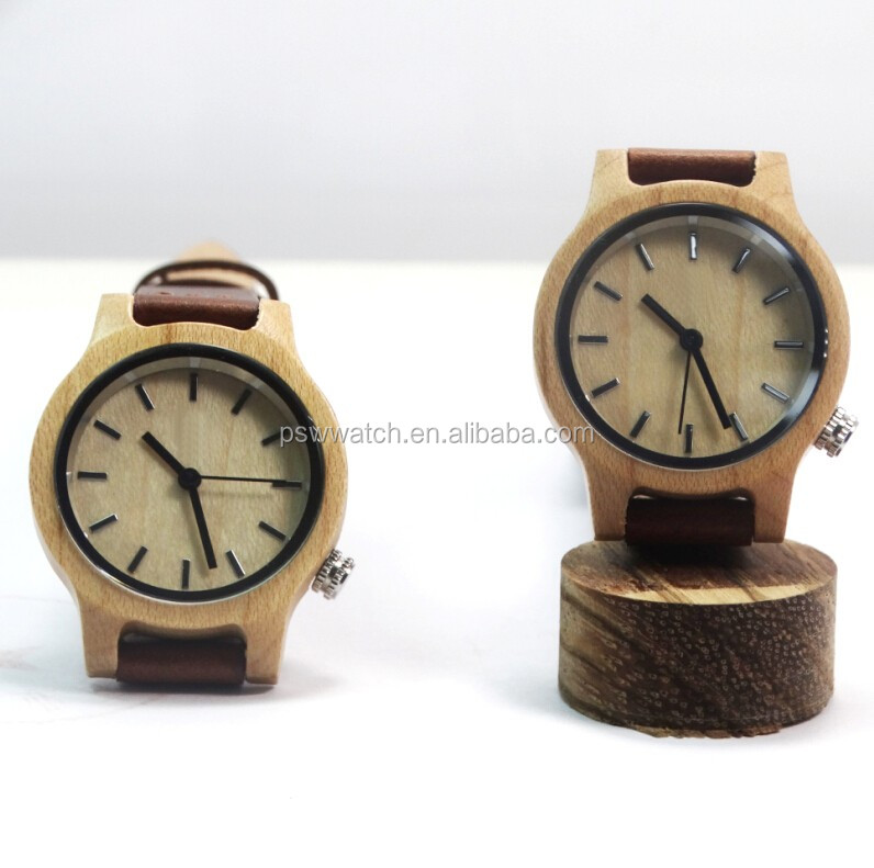 2017 Alibaba express New coming wood watch best popular leather wooden watch