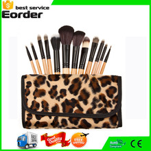 makeup Brushes 12pc Studio Pro Makeup Make Up Cosmetic Brush Set Kit w/Leopard Pattern Case - For Eye Shadow, Blush, Concealer,