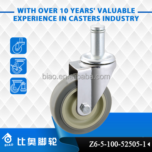 BIAO factory supply Medium to Light duty Wood Stem Casters