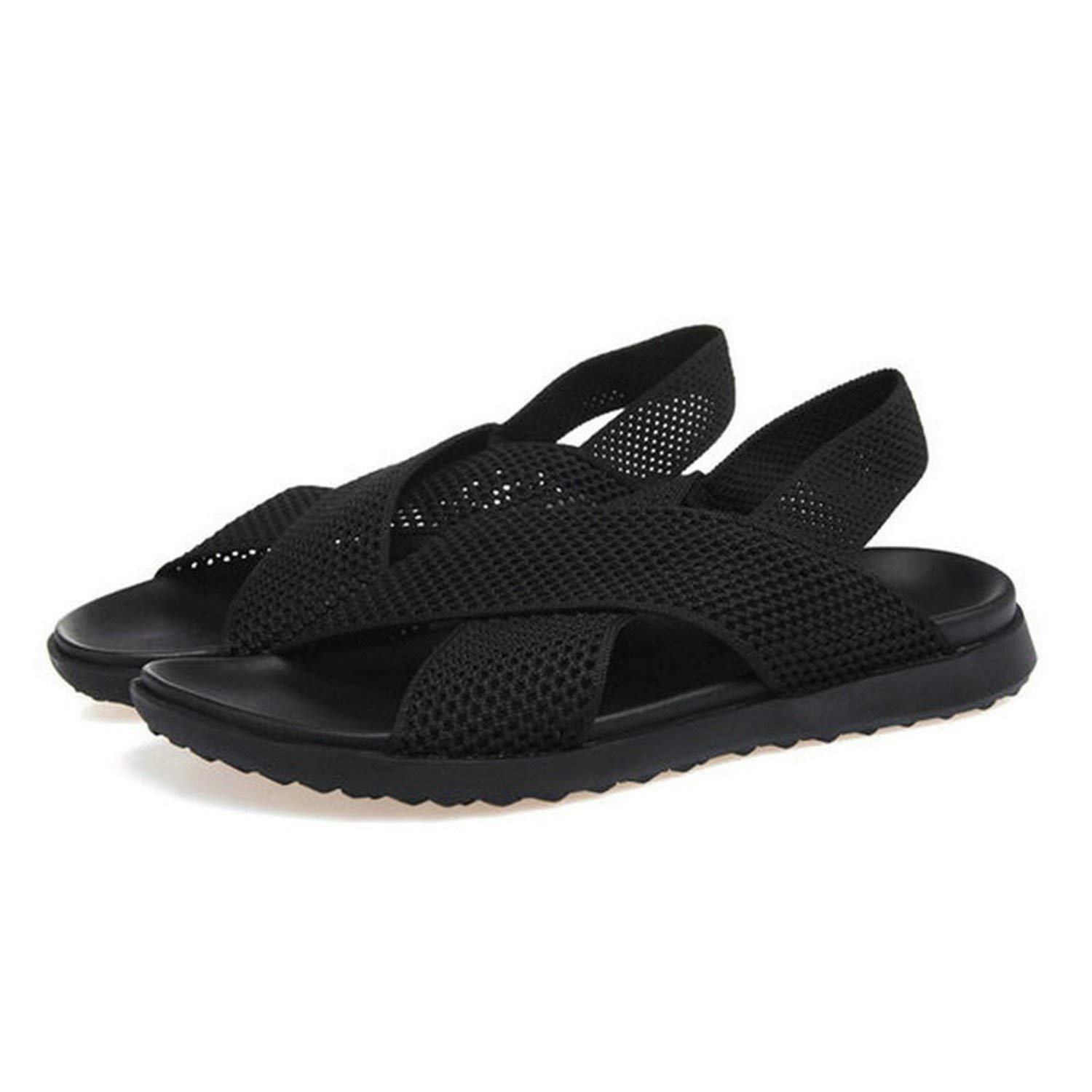 fa36288fe5cd Get Quotations · Athanie New Mens Sandals Brand Sandals Summer Shoes Mesh  Handmade Black Slipper Italy Designer Beach Sandals