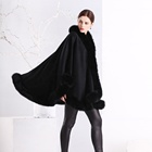 Splendid Cashmere Shawl With Top Quality Fur Trim Real Cashmere Pashmina Poncho