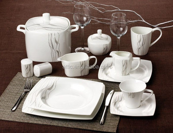 47pcs Royal Classic Fine Bone China Turkish Dinnerware Square Dinner Set with Siver Design for 8 & 47pcs Royal Classic Fine Bone China Turkish Dinnerware Square Dinner ...