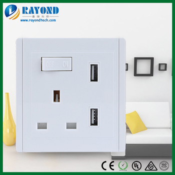 single british standard plug socket with dual 5v24a usb charger and phone shelf