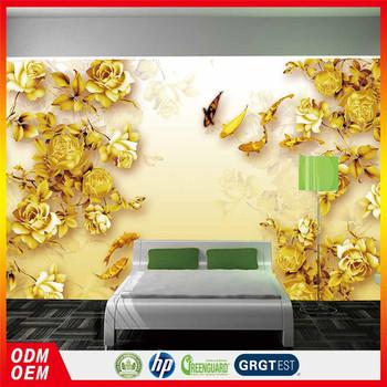 Gold Rose Painting 3d Wallpaper In Gold Color Murals Wallpaper Rose ...