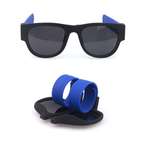 Colorful slap bracelet sunglasses fold shades glasses for men with custom logo