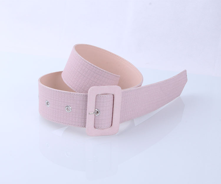 Custom Fashion Covered Buckle Ladies Belt With pig pu lining and pink matter pu genuine leather