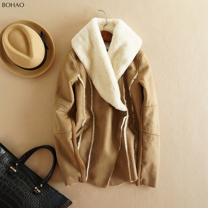 New Fashion European Style Faux Suede Coat Short Loose Lambs Wool Warm Coat