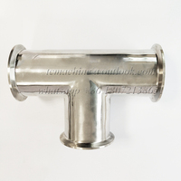 SUS 304 Stainless Steel 63mm Pipe OD Three Way Tri Clamp Tee