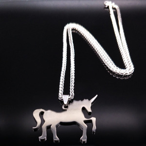 Customized Collar Unicornio Inspirational Jewelry High Polished Silver Color Long Chain Unicorn Stainless Steel Choker Necklace