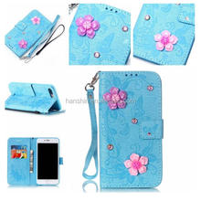 Classical luxury 3D flower with embossed butterfly flower pattern leather mobile phone case for iPhone 7