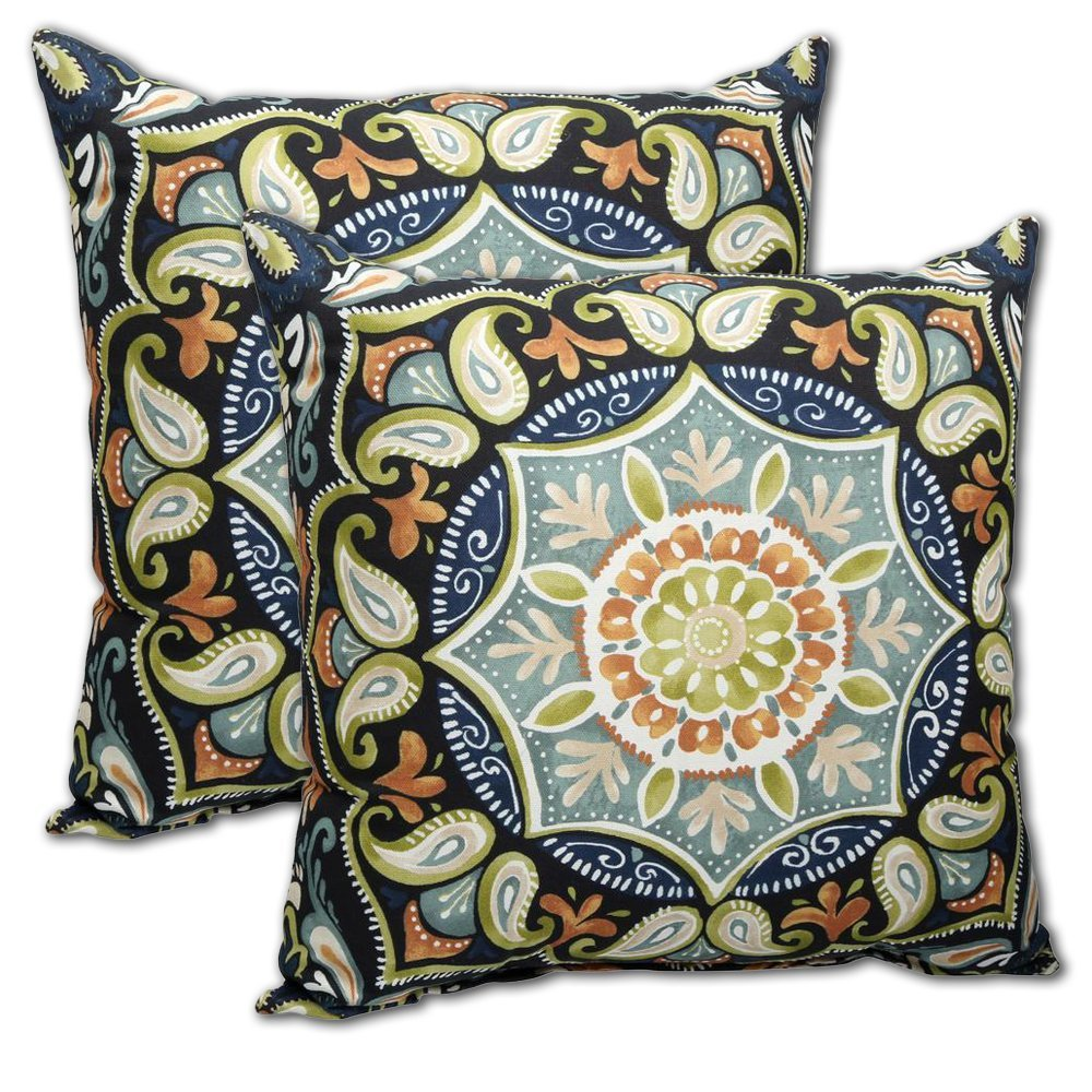 "Set of 2 Indoor/Outdoor Throw Pillow 16"" x 16"" x 4"" in Polyester Fabric Sky Medallion by Comfort Classics Inc."