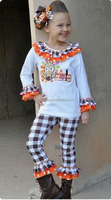 Embroidered Aztec Butterfly Childrens Boutique Set Wholesale Designer Thinksgiving Clothing For Kids