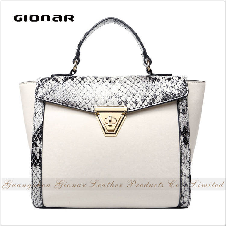 Elegant New Stylish Lady Snake Skin Leather 2016 Fashion Genuine Leather Handbag Italy