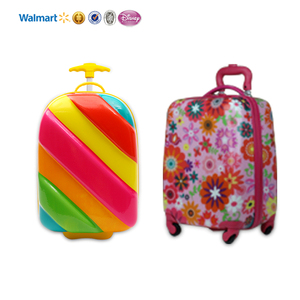 high quality 16inch pink kids 4 wheel spinner trolley travel luggage bag toddler rolling bags for girls