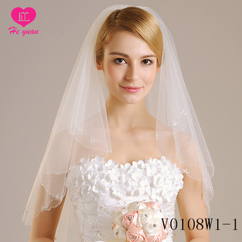 v0108w1-1Bridal Veils Two Layer Lace Ivory Long Wedding Dress Veil
