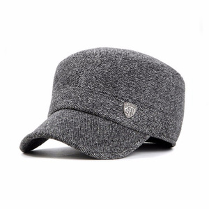 High quality custom flat top metal buckle unisex wool military cap for winter