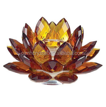 MH-H0059 hot selling Amber Crystal Lotus for Buddhism gift crystal tealight candle holder