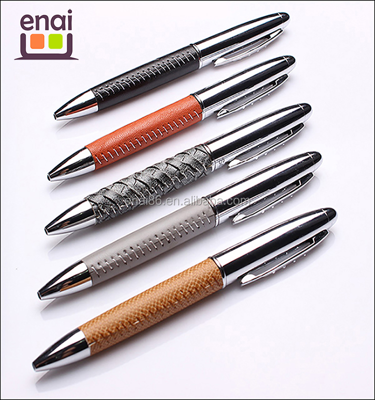 High End Design Leather Metal Ball Pens for Promotional leather pen