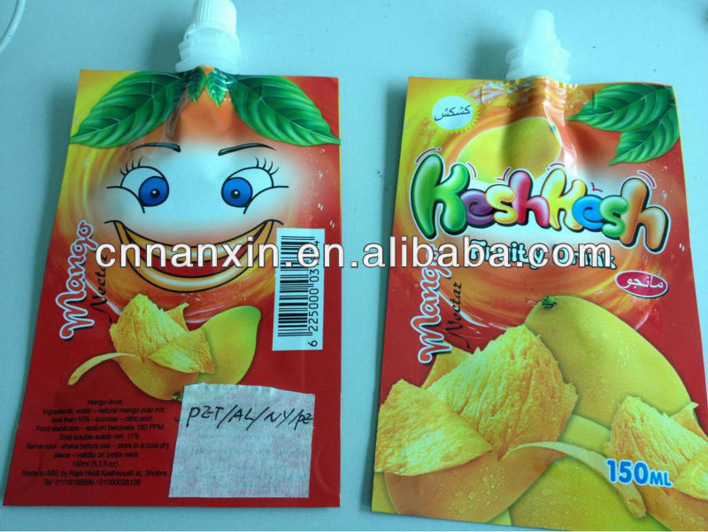 plastic bag stand up pouch with spout for juice