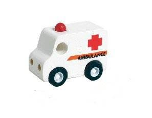 Mini Wood Toy Ambulance Made from Durable Wood for Boys and Girls
