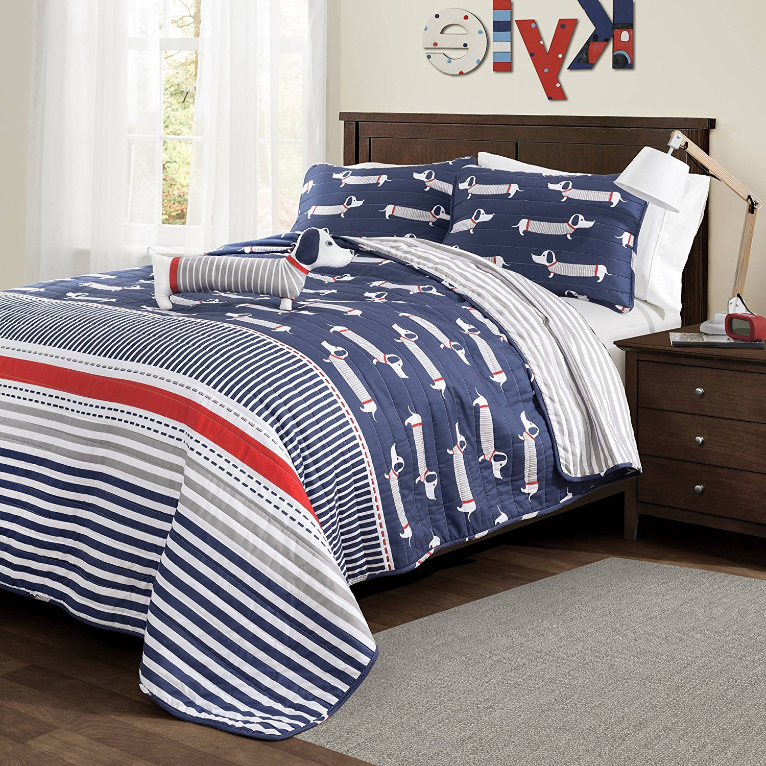 4 Piece Cute Kids Red Navy Blue White Grey Full Queen Quilt Set, Dog Themed Reversible Bedding Sausage Weiner Dog Animal Striped Fun Adorable Puppy Dachshund Doggy, Polyester