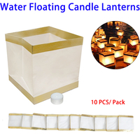 Top Grade Eco-friendly Paper Lanterns Square Floating Water Candle Lantern for Wishing