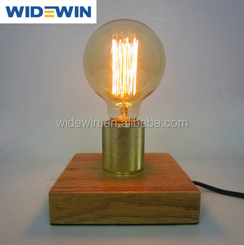 Vintage Industrial Table Light Edison Bulb Wooden Desk Lamp For Cafe