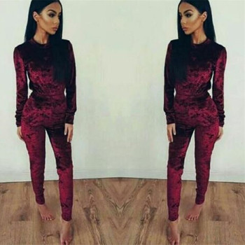 VL003A Velvet Tracksuit Two Piece Set Women Sexy Pink Long Sleeve Top And  Pants Bodysuit Suit 81dae44b85