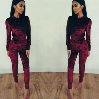 a3e2e88dfb5ecc VL003A Velvet Tracksuit Two Piece Set Women Sexy Pink Long Sleeve Top And  Pants Bodysuit Suit