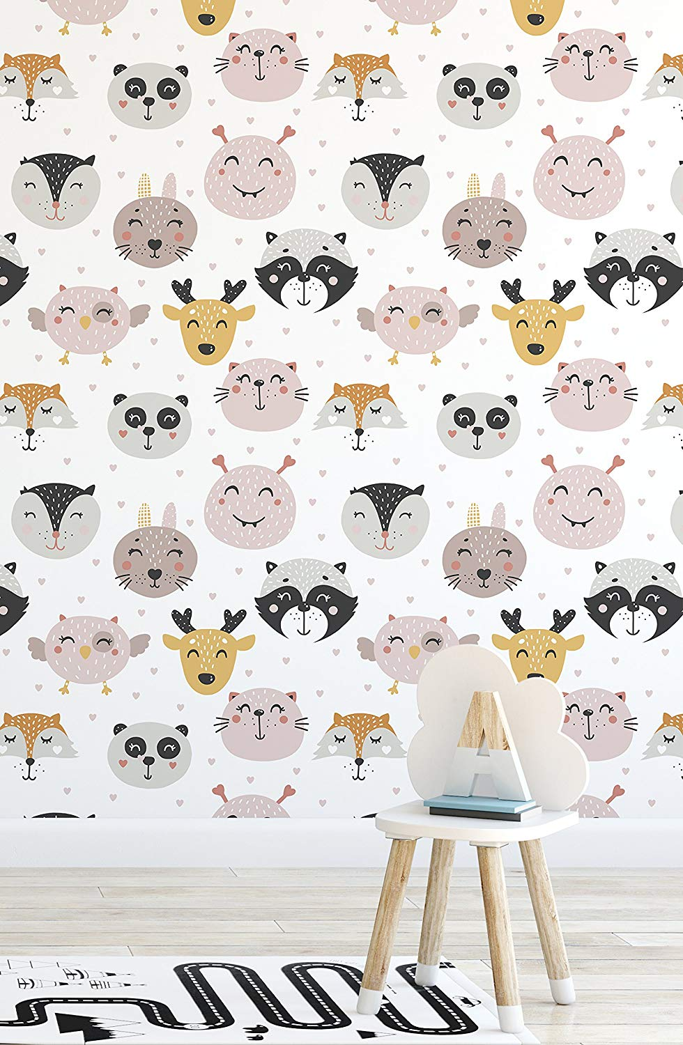 Get Quotations  C2 B7 Cute Animal Removable Wallpaper For Kids Room Playroom Nursery Self Adhesive Colorful Wall