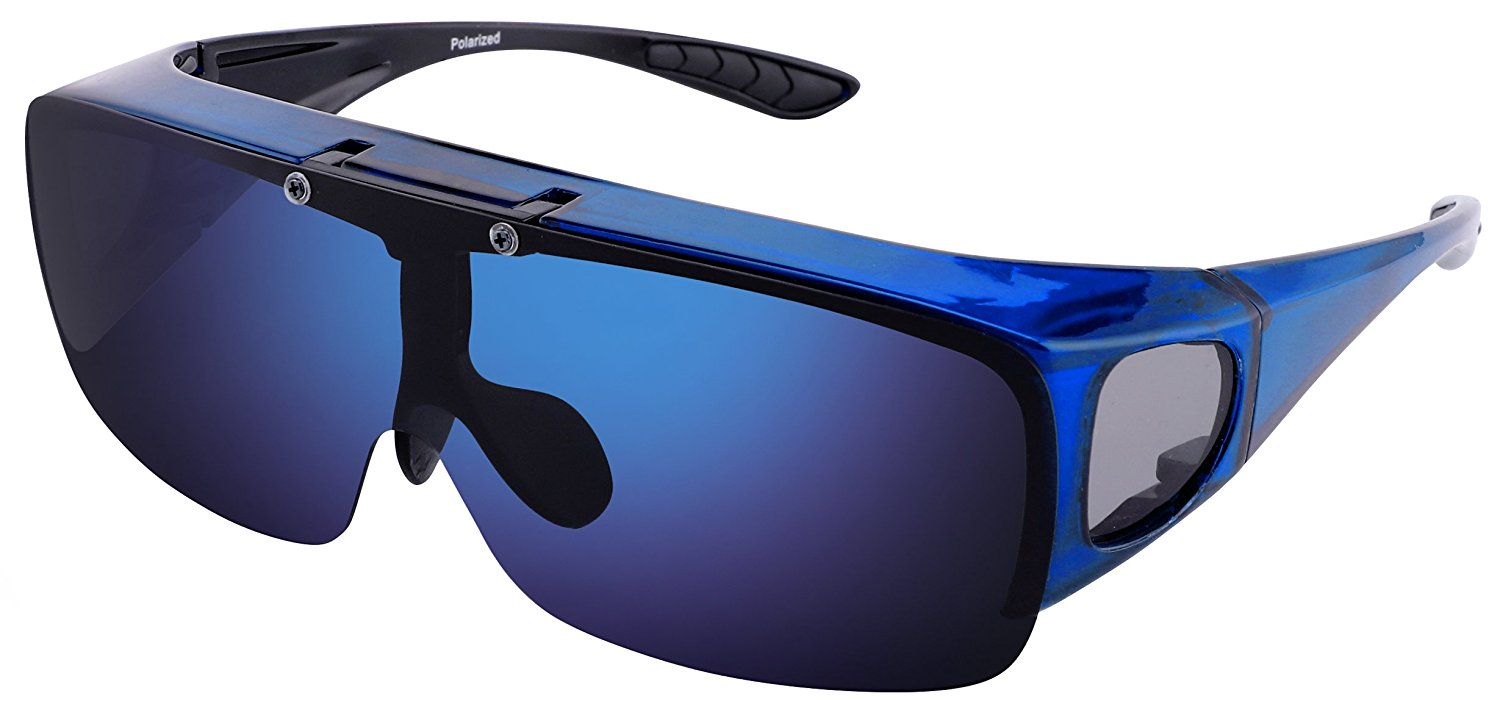 4567cb4938706 Get Quotations · TINHAO Mens Polarized Flip Up Fitover Sunglasses with  Mirrored Lenses