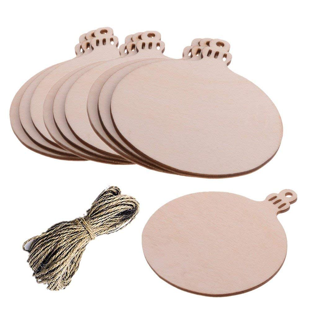 Pack of 10 Christmas Round Wooden Blank Wood Gift Tags Crafts Wood Slices with Holes Cutouts for Kids Crafts Christmas Tree Decoration with 20 Meters Twine