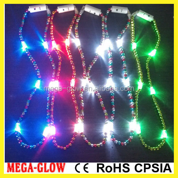led fashion carnival bead necklace/badge for mardi gras