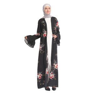 Fashion young women summer muslim dress malaysia islamic clothing floral printing dubai style open abaya