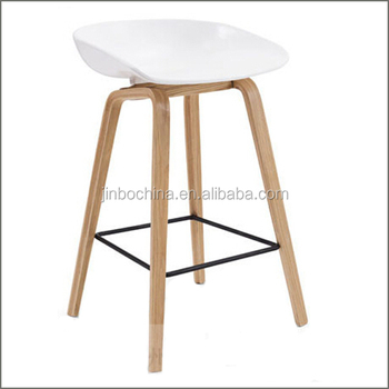 Special Price White Plastic Seat Bar Stool With Wooden Legs