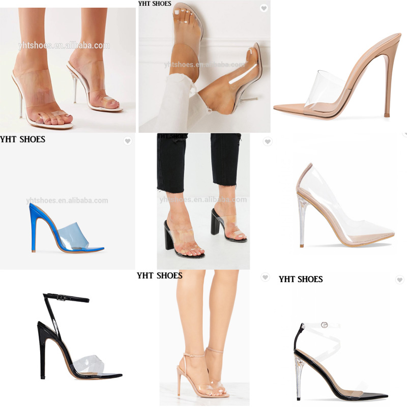 9b217fca9a Fashion High Heel Pointed Toe Clear Pumps Heels Slip on Dress Shoes ...