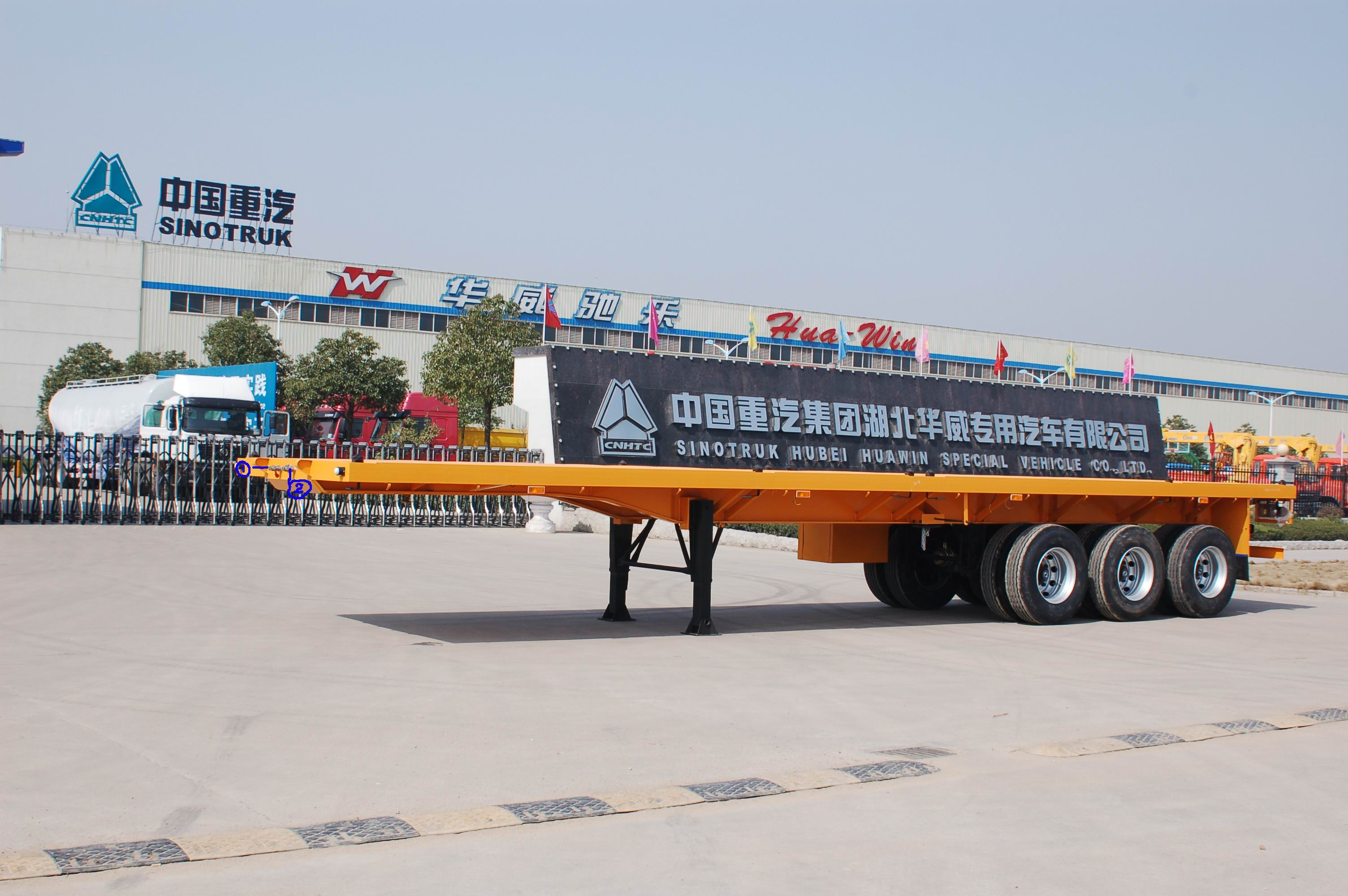 Trung quốc chất lượng cao tri-trục 45ton 40ft phẳng container trailer phẳng trailer
