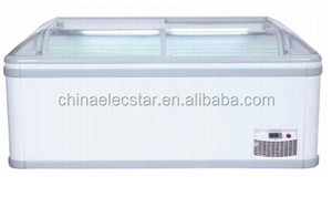 Paris Island Freezer CE glass lid chilled commercial refrigerator curved freezer island freezer