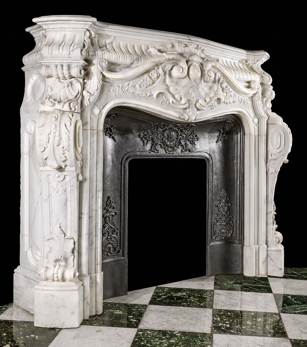 Louis Xv Style Carved Statuary Marble Fireplace Surround