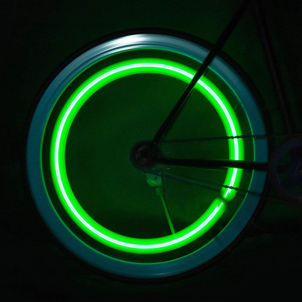 Glumes Bike Wheel Lights, LED Waterproof Bicycle Spoke Light 4 LED 3 Changes Modes Bicycle Rim Tire Lights for Mountain Bike/Road Bikes/BMX Bike/Hybrid Bike/Folding Bike Good Gift (Green)