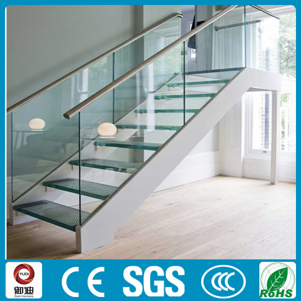 Panel de vidrio templado escaleras escalera de cristal for Escalera exterior de acero galvanizado precio